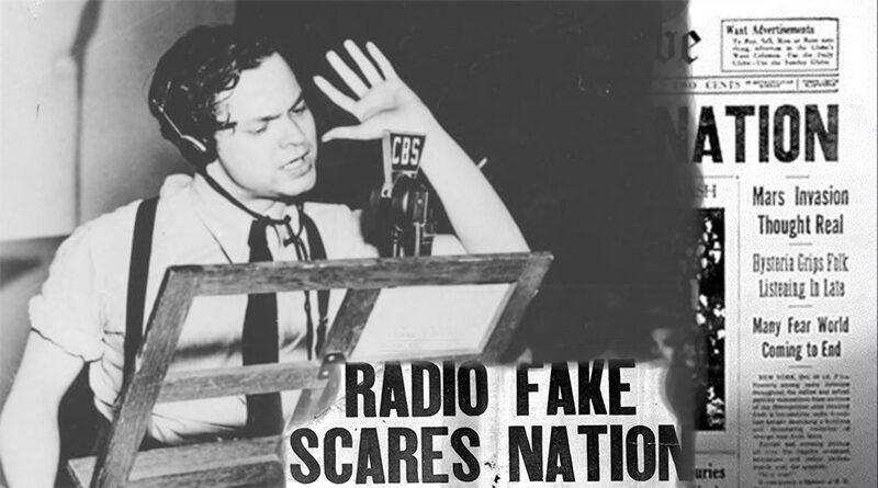 """""""Columbia Broadcasting System stüdyo, H. G. Wells'e ait Dünyalar Savaşı adlı eserini, Orson Welles ve Merküri tiyatrosu aracılığı ile dinlemektesiniz."""""""