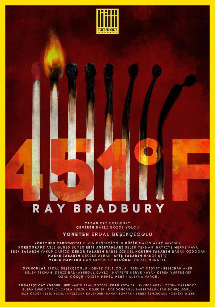 En önemli bilimkurgu ve Distopya klasiklerinden biri olan Fahrenheit 451 Erdal Beşikçioğlu tarafından sahneleniyor. Bu gösterim aynı zamanda bir ilke imza atılarak canlı bir şekilde online gösterimde olacak.