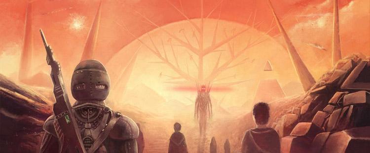 Hyperion kitabında önemli bir nokta olan Shrike'ın görseli.